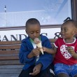 Boy And Girl Sharing Ice Cream Cone
